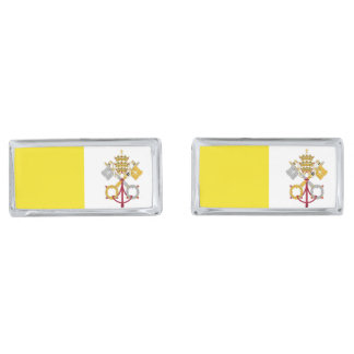 バチカン市国の旗 銀色 カフリンク