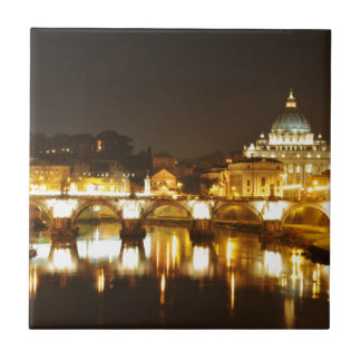 バチカン市国、ローマ、夜のイタリア タイル