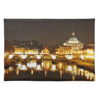 バチカン市国、ローマ、夜のイタリア ランチョンマット