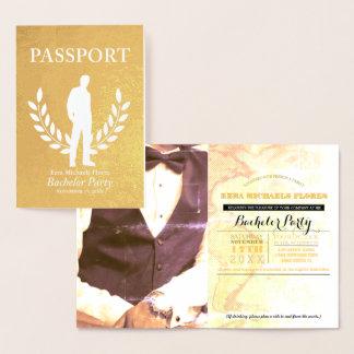 バチュラーパーティのパスポートの金ゴールドホイル 箔カード