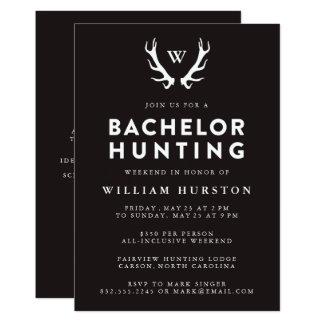 バチュラーパーティの招待状を捜すモノグラムの(雄ジカの)枝角 カード