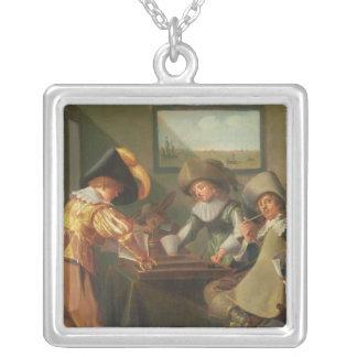バックギャモンプレーヤー、17世紀 シルバープレートネックレス