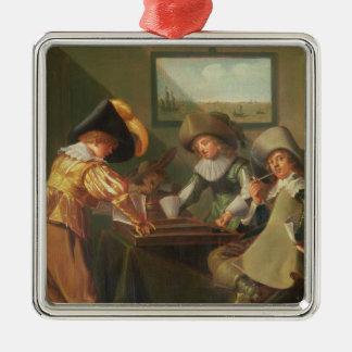 バックギャモンプレーヤー、17世紀 メタルオーナメント
