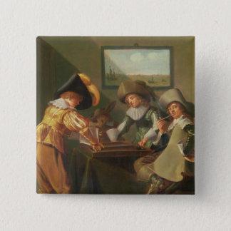 バックギャモンプレーヤー、17世紀 5.1CM 正方形バッジ