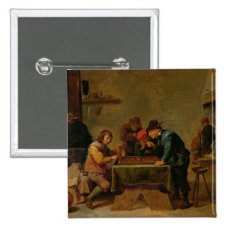 バックギャモンプレーヤー、c.1640-45 5.1cm 正方形バッジ