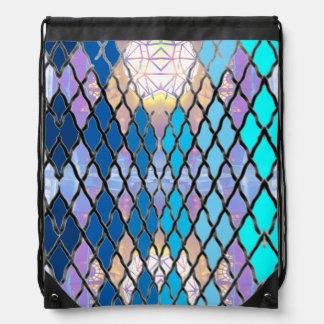 バックパックの水のターコイズのダイヤモンドパターン2 ナップサック