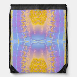 バックパックの水のターコイズの金ゴールドのパターン(の模様が)あるな芸術 ナップサック
