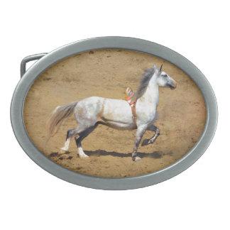 バックルのBareback Broncの馬の芸術 卵形バックル