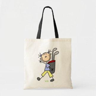 バッグおよびクラブを持つ女の子のゴルファー トートバッグ