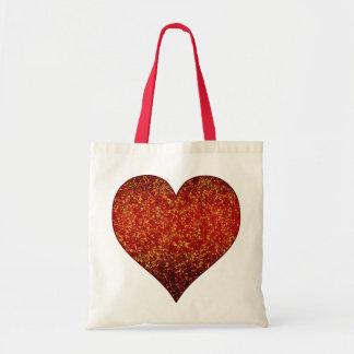 バッグのグリッターの写実的なハートの赤 トートバッグ
