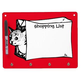バッグのショッピング・リストカスタマイズ可能な板の猫 キーホルダーフック付きホワイトボード