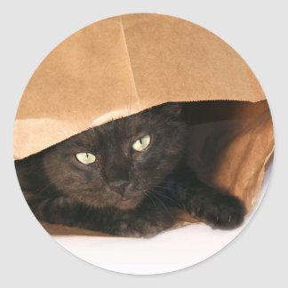 バッグのステッカーの黒猫 ラウンドシール