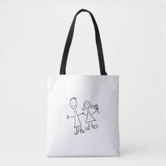 バッグを引いている手に手をとって恋人の微笑のカップル トートバッグ