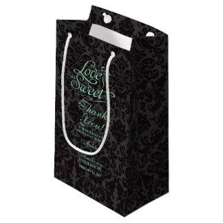 バッグ愛を結婚することは甘く真新しい緑の黒です スモールペーパーバッグ