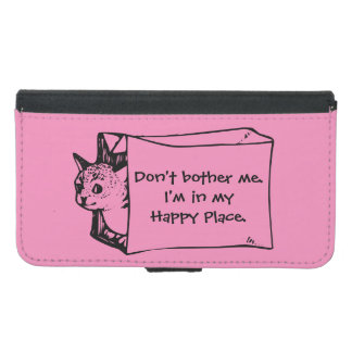 バッグ箱の内向的で幸せな場所猫 GALAXY S5 ウォレットケース