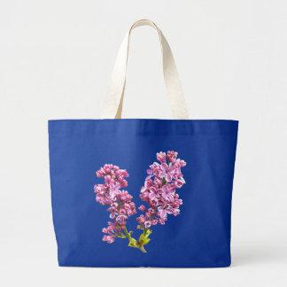 バッグ-薄紫の花 ラージトートバッグ