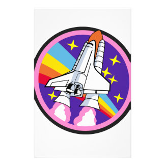 バッジパッチのピンクの虹のロケット 便箋
