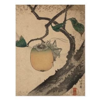 バッタの食べ物の柿- Katsushika Hokusai ポストカード