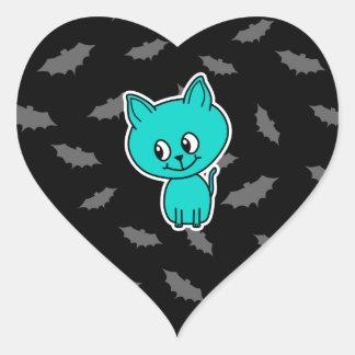 バットを持つかわいいティール(緑がかった色)猫 ハートシール