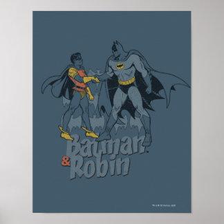 バットマンおよびロビンの動揺してなグラフィック ポスター