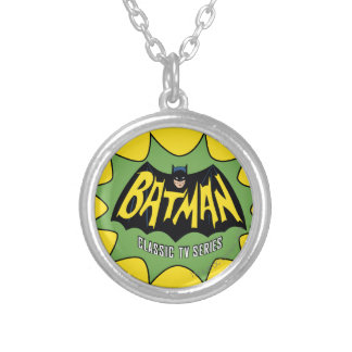 バットマンのクラシックなテレビの連続番組のロゴ シルバープレートネックレス