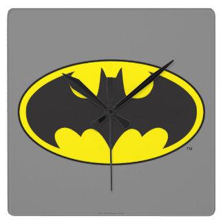 バットマンの記号|のこうもりの楕円形のロゴ スクエア壁時計