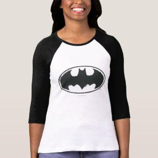 バットマンの記号|のスプレーの白黒のロゴ Tシャツ