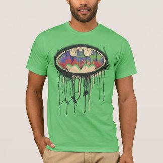バットマンの記号|の緑の紫色の赤いロゴ Tシャツ