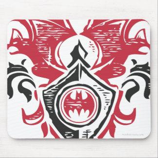 バットマンの記号|の赤く黒いこうもりのスタンプの頂上のロゴ マウスパッド