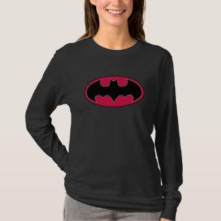 バットマンの記号|の赤く黒いロゴ Tシャツ