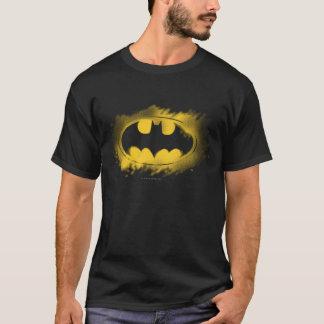 バットマンの記号|の黒くおよび黄色のロゴ Tシャツ