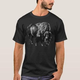 バッファローのアメリカ野牛のヴィンテージの木製の版木、銅版、版画 Tシャツ