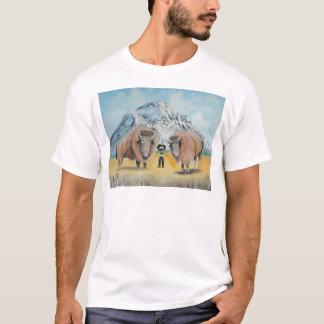 バッファローのビルのイラストレーションの野生の西 Tシャツ