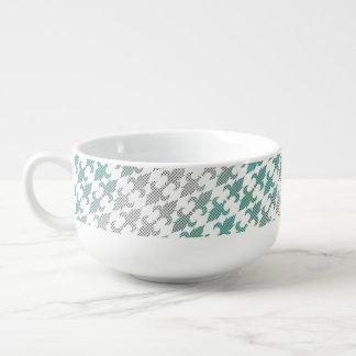 バッファローの格子縞のダマスク織のミントの緑のグラデーションな陰のフルーア スープマグ