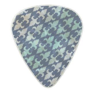 バッファローの格子縞のダマスク織のミントの緑の真夜中の青 パールセルロイド ギターピック