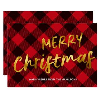 バッファローの赤い格子縞および金ゴールドホイルの原稿のクリスマス カード