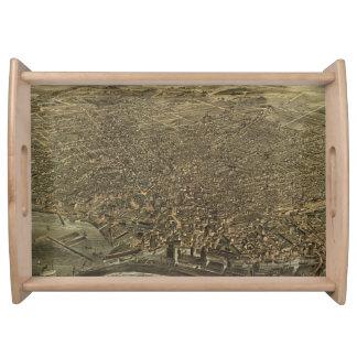 バッファローニューヨーク(1880年)のヴィンテージの絵解き地図 トレー