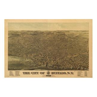 バッファローニューヨーク(1880年)の都市 ウッドウォールアート