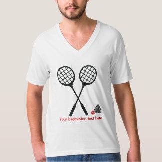 バドミントンのギフト、ラケットおよびshuttlecockのカスタム tシャツ