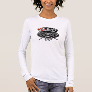 バドミントンのスカル: 交差させたラケット Tシャツ
