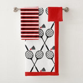 バドミントンのラケット及びshuttlecockのストライブ柄の黒の赤 バスタオルセット