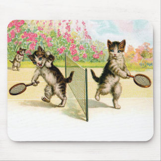 バドミントンの子ネコのヴィンテージの芸術 マウスパッド