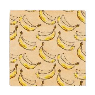 バナナが付いているパターン ウッドコースター