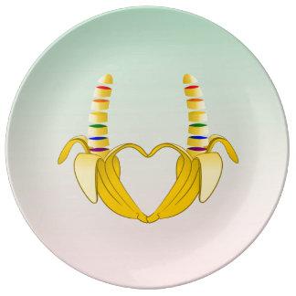 バナナのゲイプライドの自由のハート 磁器プレート