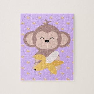 バナナのジグソーパズルを持つかわいいかわいい猿 ジグソーパズル