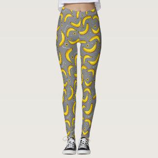 バナナのポップアートのパターン(の模様が)あるなレギンス レギンス