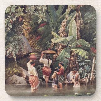 バナナの木の下で洗浄しているPhilippinoの女性18 コースター