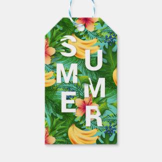バナナの熱帯夏の文字によっては背景が開花します ギフトタグ