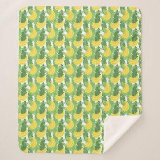 バナナの葉およびフルーツパターン シェルパブランケット
