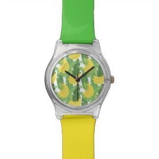 バナナの葉およびフルーツパターン 腕時計